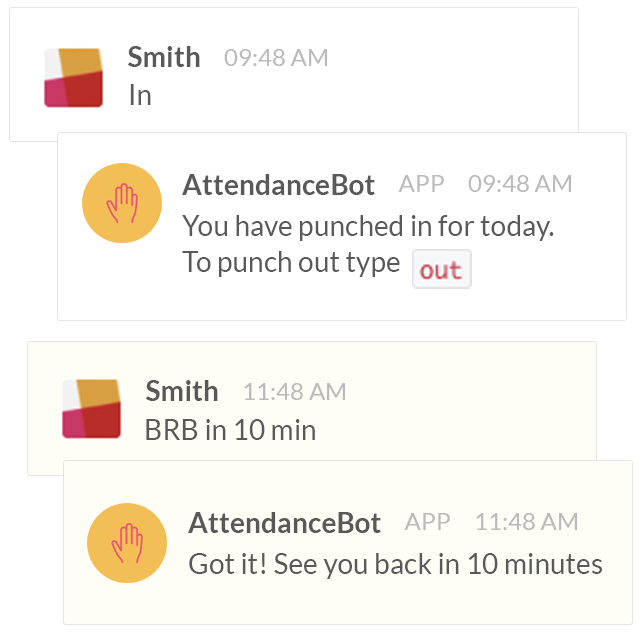 time tracking with attendancebot