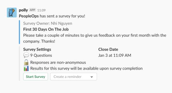 best slack apps - polly survey