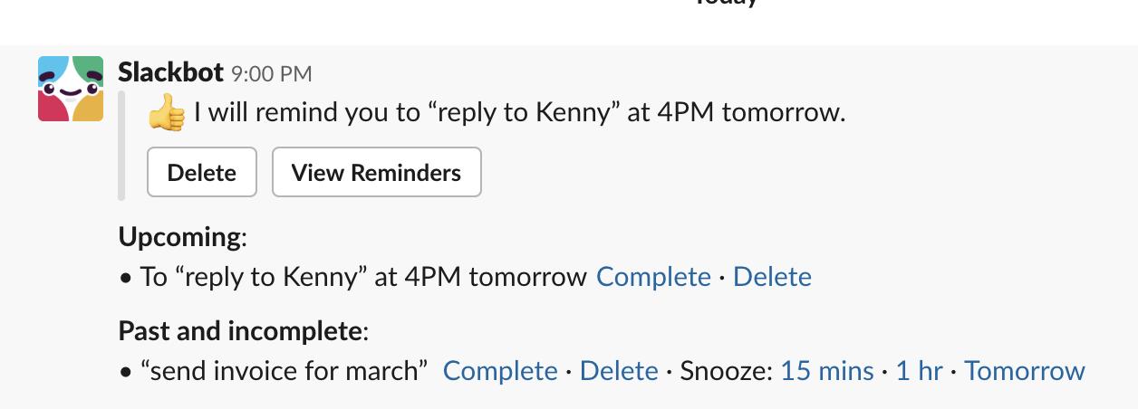 slack productivity - reminders