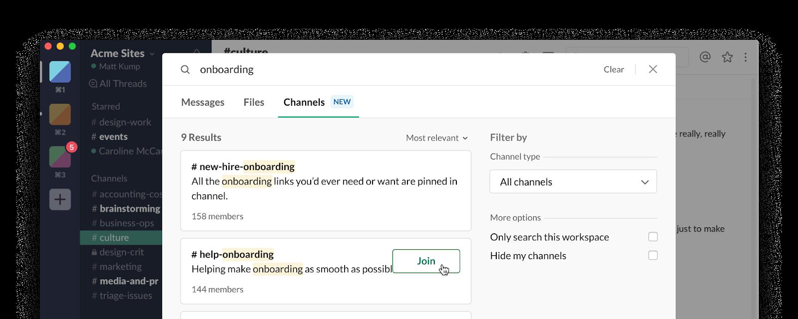 slack productivity - select channels