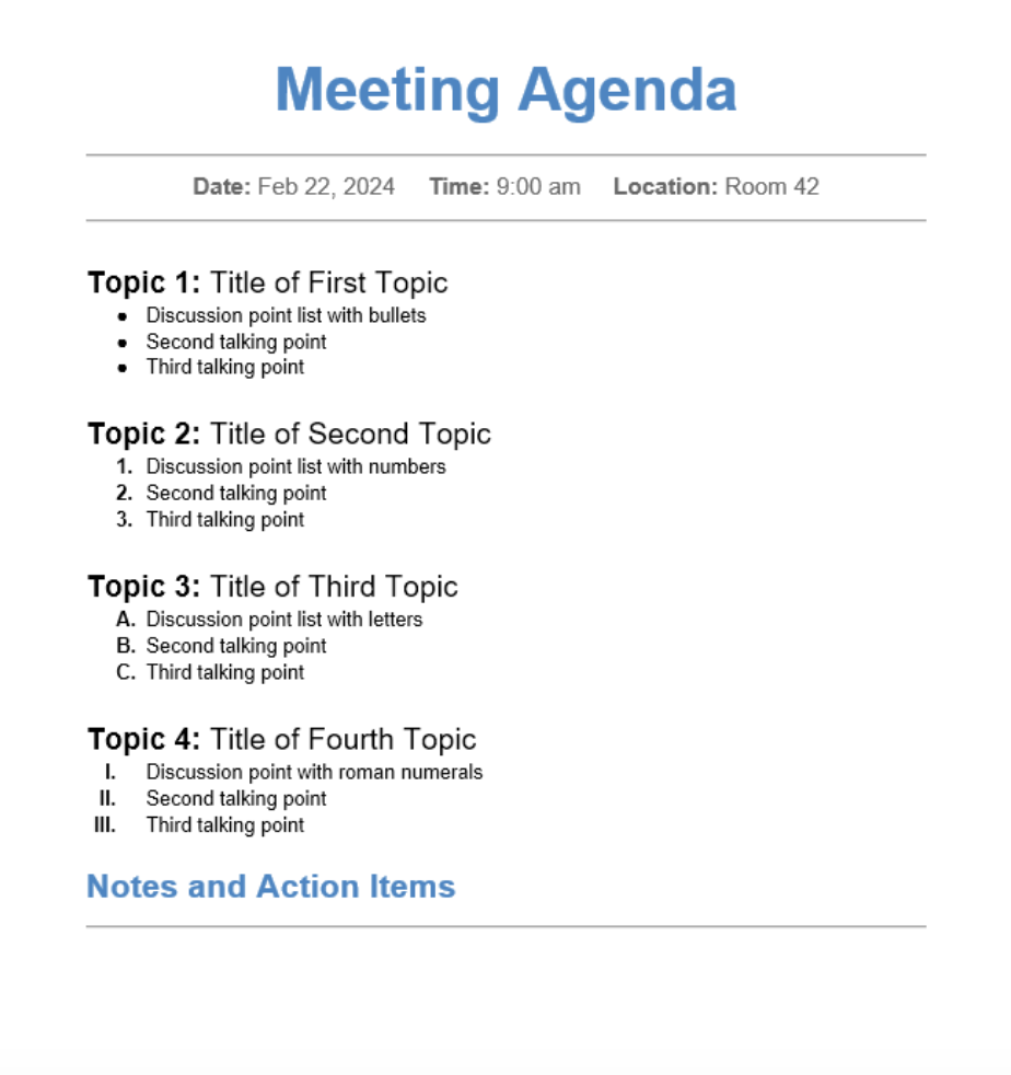 meeting agenda - time management strategies