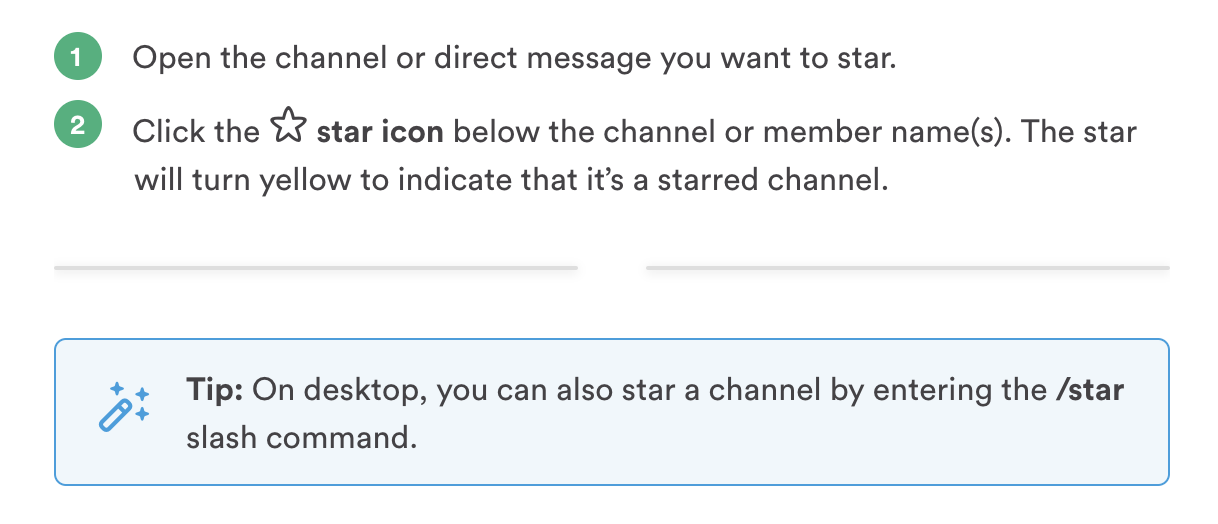 star slack channels important