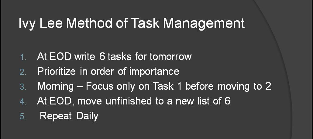 ivy lee method time management