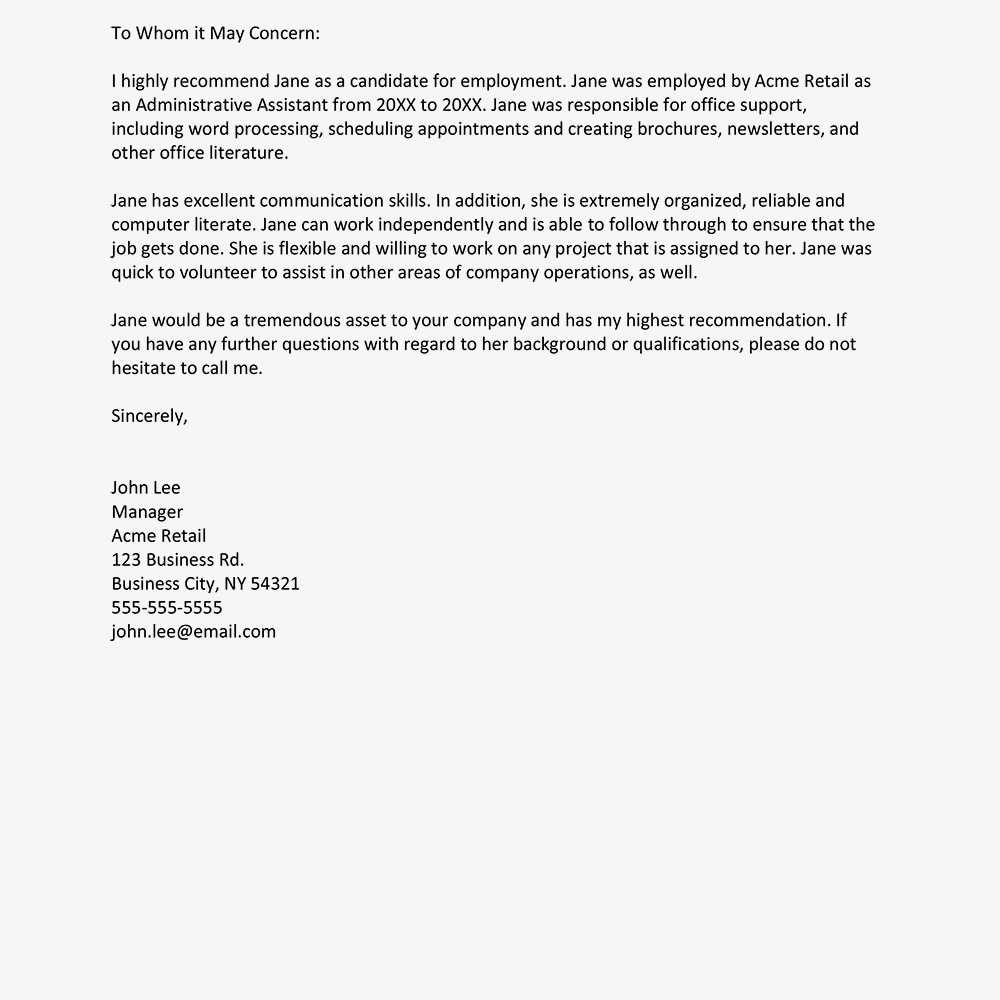 Letter Of Recommendation To Whom It May Concern Template from blog.attendancebot.com